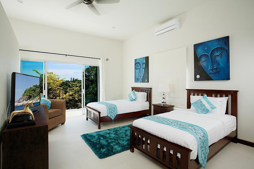 twin bedroom poolside turquoise villa rawai phuket holiday rental