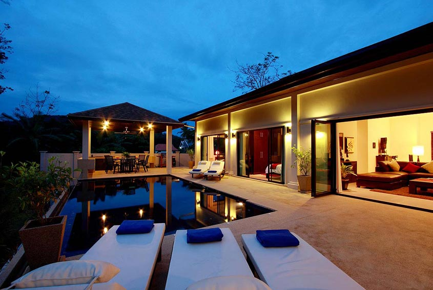 crystal villa nai harn phuket holiday rental poolside night time living area