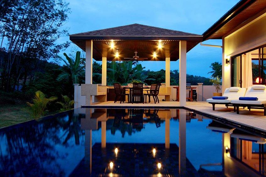crystal villa nai harn phuket holiday rental covered sala outdoor eating poolside