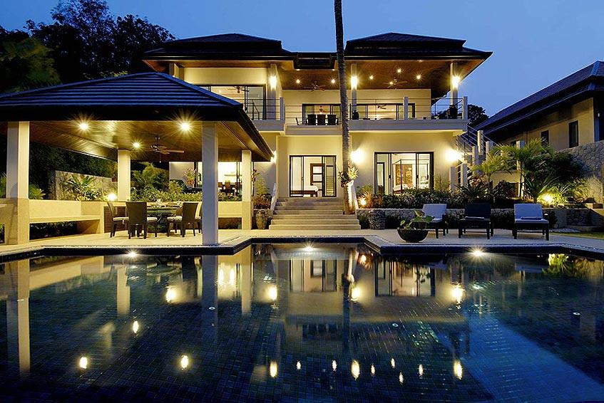 emerald villa nai harn phuket holiday rental nightime bathing pool sala