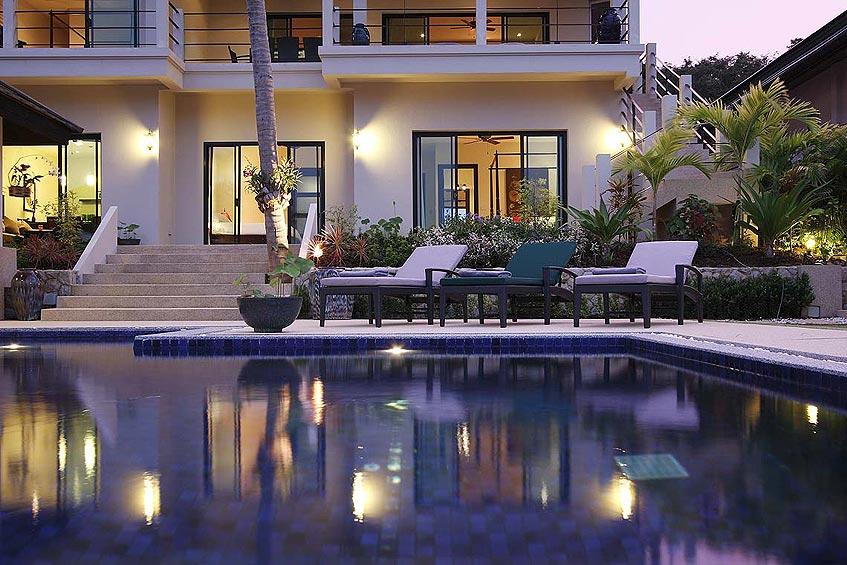emerald villa nai harn phuket holiday rental evening relaxation pool
