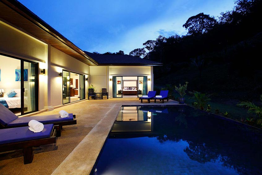 gemstone villa nai harn phuket holiday rental infinity pool sundeck night swim