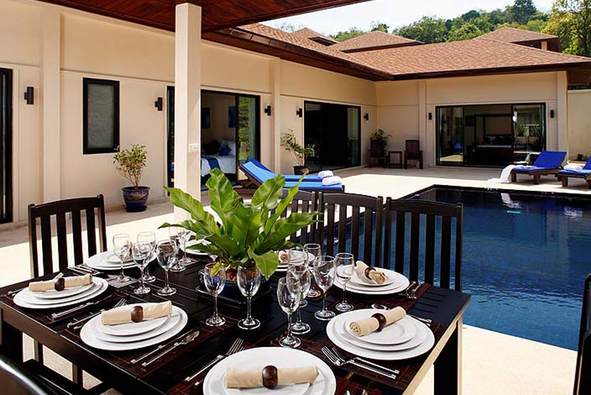 gemstone villa nai harn phuket holiday rental sala outdor sitting eating covered poolside
