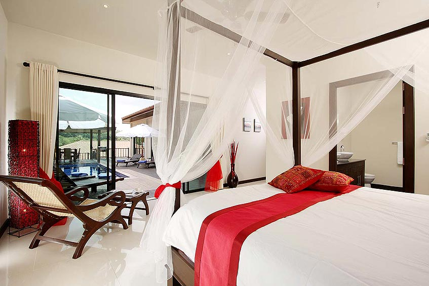 moonstone villa nai harn phuket holiday rental master bedroom four poster bed poolside