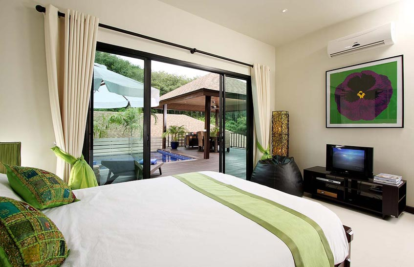 moonstone villa nai harn phuket holiday rental double bedroom poolside sala deck