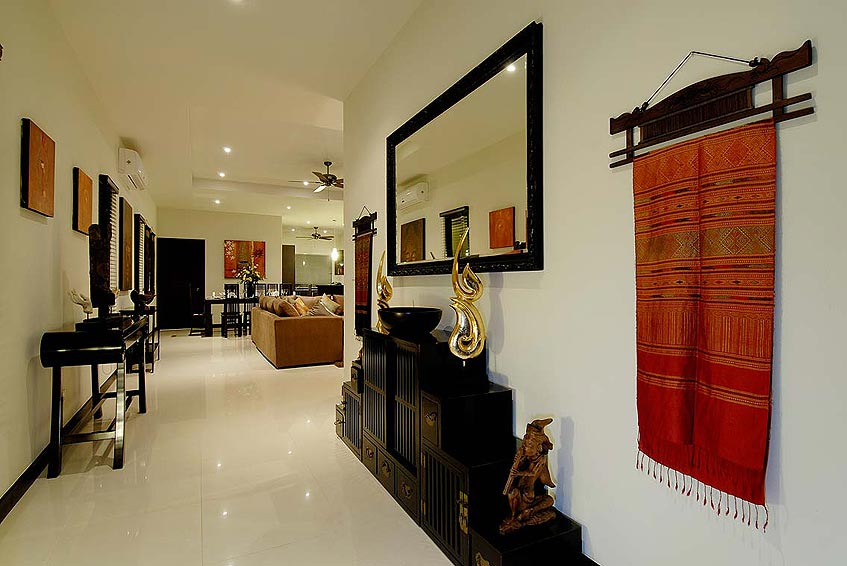 sapphire villa nai harn phuket holiday rental open plan entranceway living room thai decor
