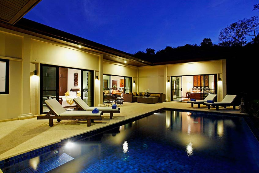 sapphire villa nai harn phuket holiday rental night entertainment poolside