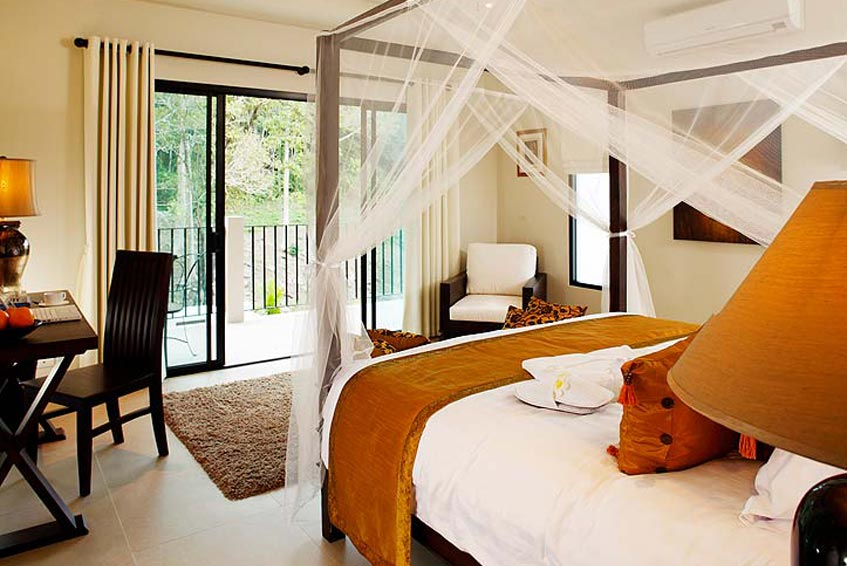 sunstone villa nai harn phuket holiday rental four post bed balcony