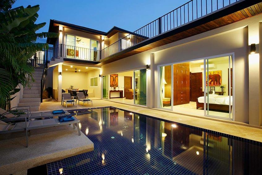 topaz villa nai harn phuket holiday rental pool, sundeck, upper sun terrace