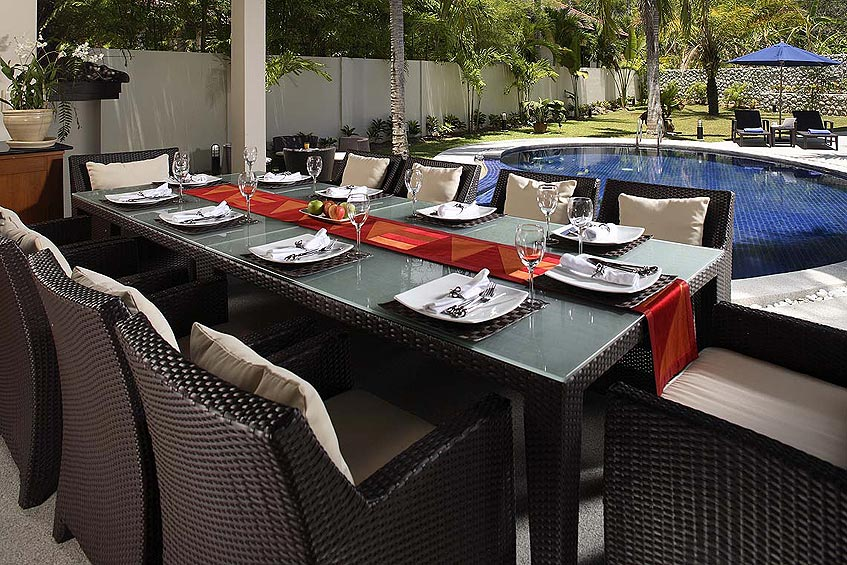 villa maria nai harn phuket holiday rental covered sala outdoor dining poolside