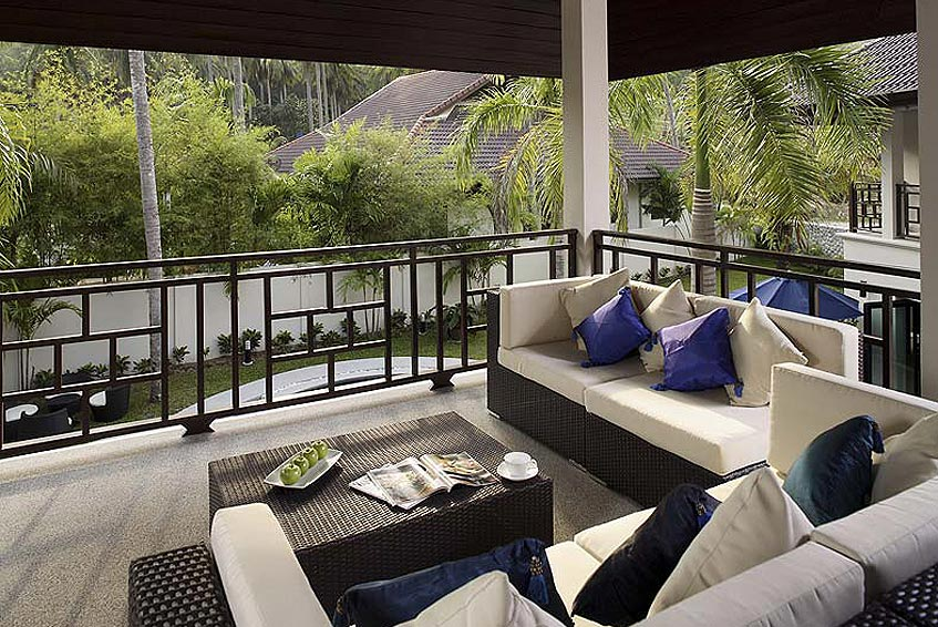 villa maria nai harn phuket holiday rental first floor balcony covered seating area