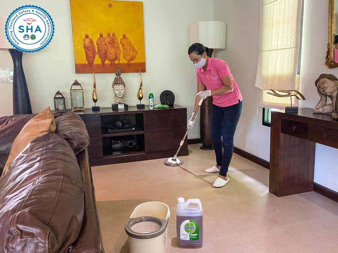 all floors mopped with dettol dailySHA approved covid safe villas phuket