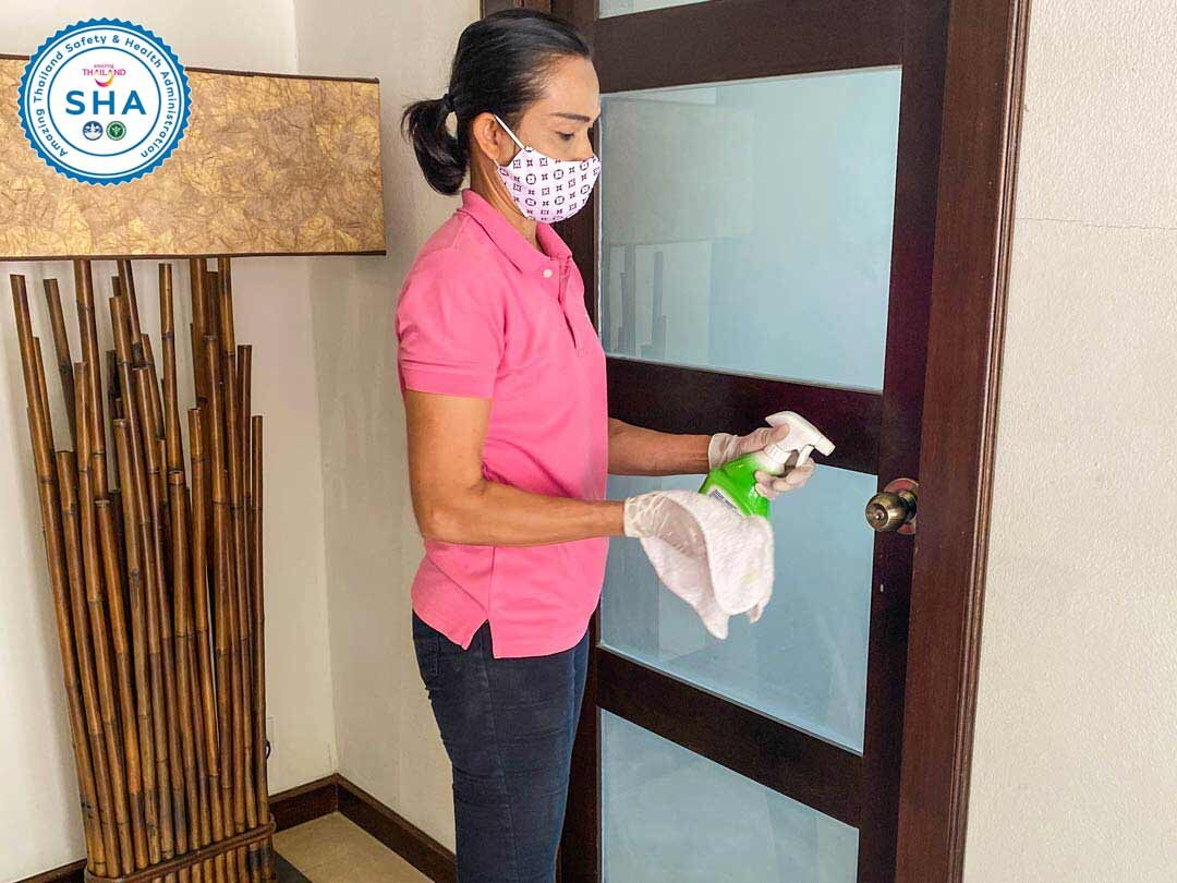 all door handles and furniture disinfected dailySHA approved covid safe villas phuket