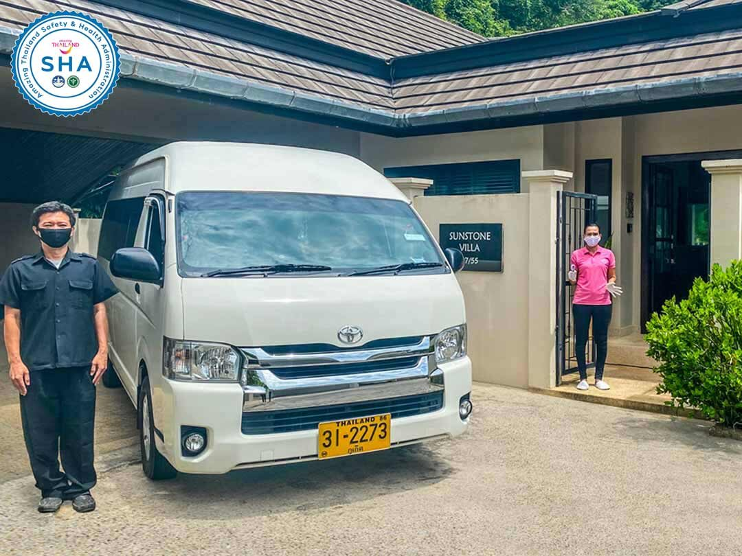 all transport vehicles disinfected daily and drivers temperature checkedSHA approved covid safe villas phuket